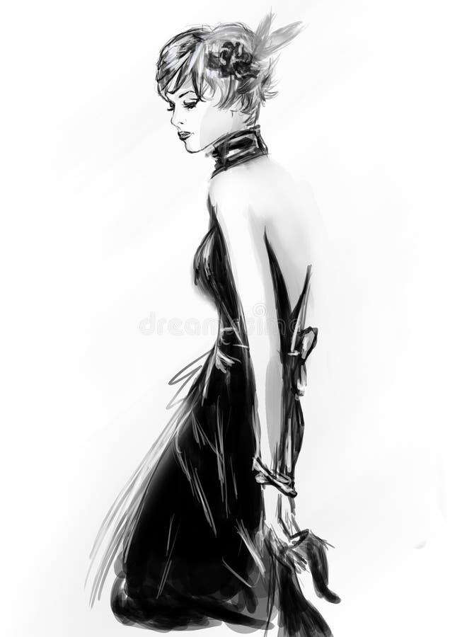 Het meisje van de manier in schets-stijl stock afbeelding