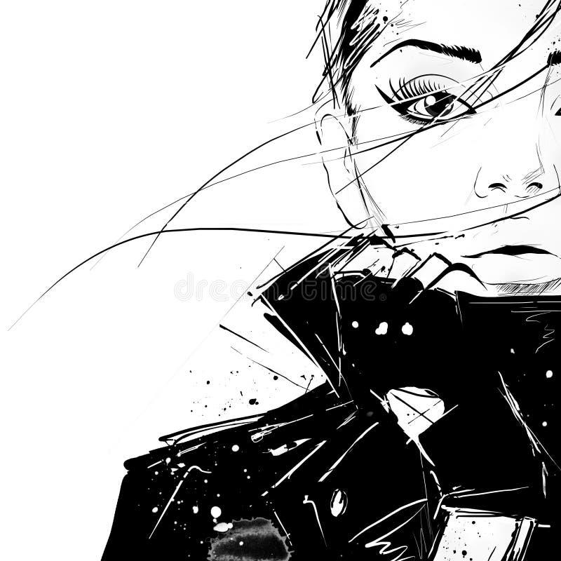 Het meisje van de manier in schets-stijl vector illustratie