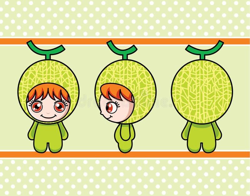 Het meisje van de meloen stock illustratie
