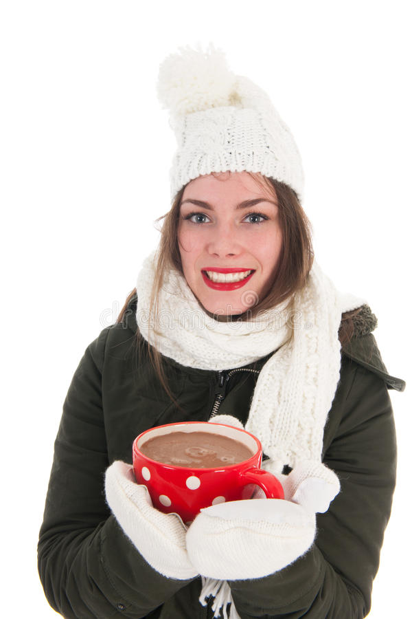 Het meisje van de portretwinter met hete chocolade royalty-vrije stock fotografie