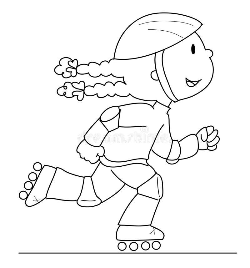 Het meisje van de schaatser royalty-vrije illustratie