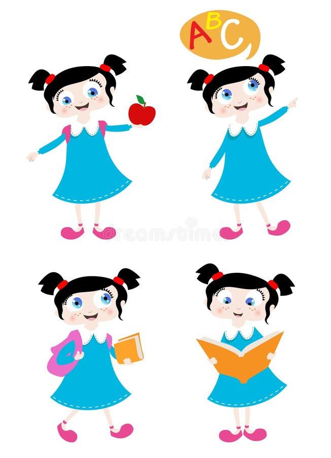 Het meisje van de school stock illustratie