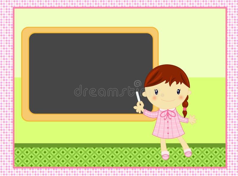 Het Meisje Van De School Met Balckboard Royalty-vrije Stock Foto