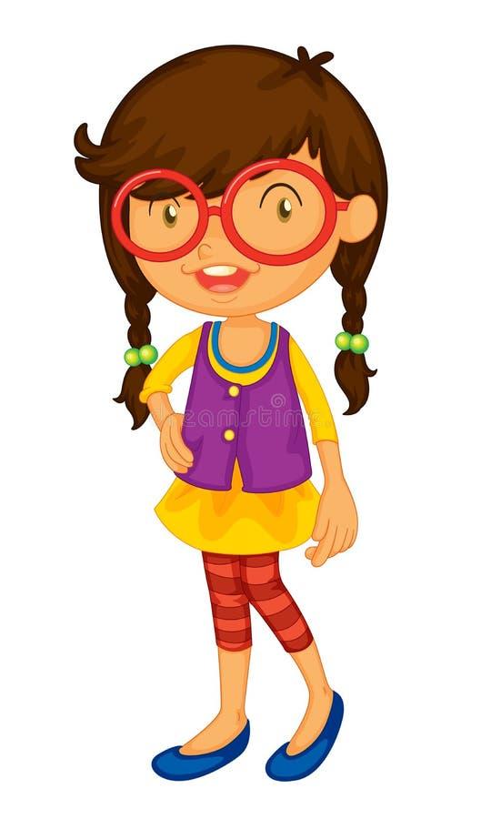 Het meisje van de school op wit vector illustratie