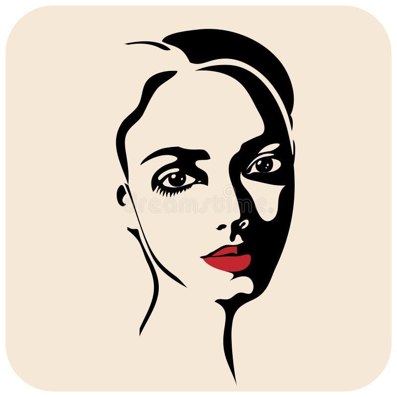 Het meisje van de schoonheid Gezicht van de manier het mooie vrouw inkt royalty-vrije illustratie