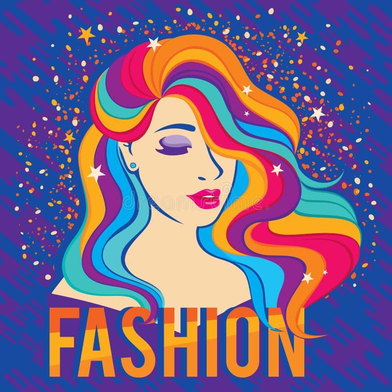 Het meisje van de schoonheidsmannequin met kleurrijk geverft haar kleurrijk long-hair portret vector illustratie