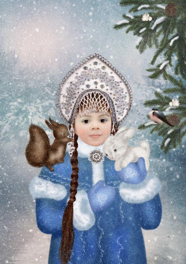 Het Meisje van de sneeuw in het de winterbos royalty-vrije stock afbeelding