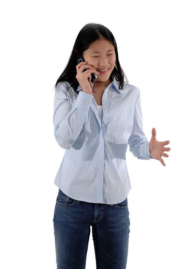 Het Meisje van de Telefoon van de cel stock afbeelding