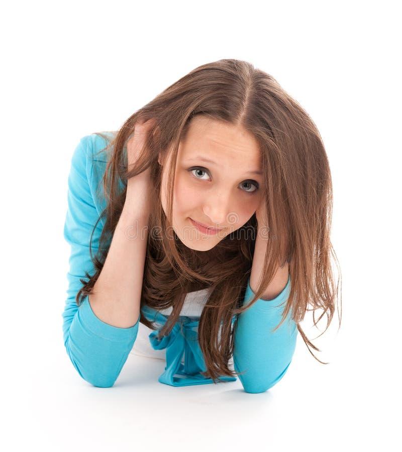 Het meisje van de tiener in blauwe kleding royalty-vrije stock foto's
