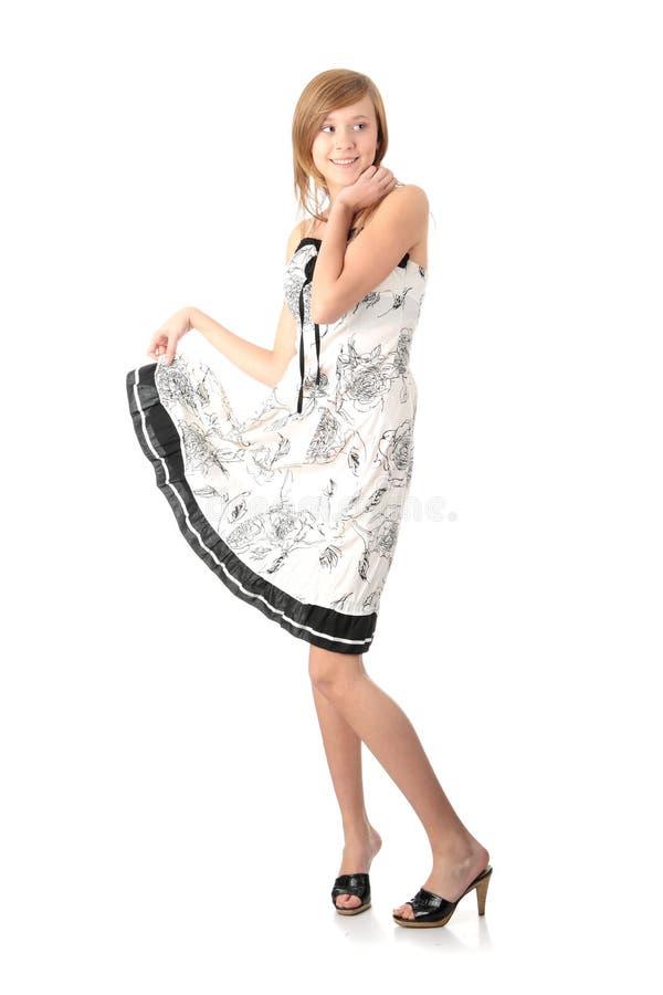 Het meisje van de tiener in elegante witte kleding royalty-vrije stock afbeeldingen