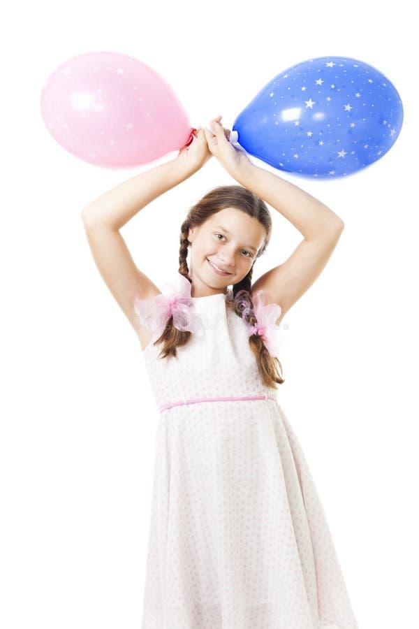 Het meisje van de tiener met ballons bij haar verjaardag stock fotografie