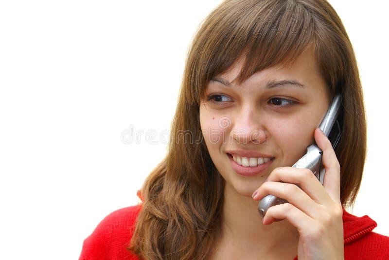 Het meisje van de tiener met celtelefoon stock fotografie