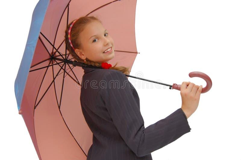 Het Meisje van de tiener met een roze Paraplu stock afbeeldingen