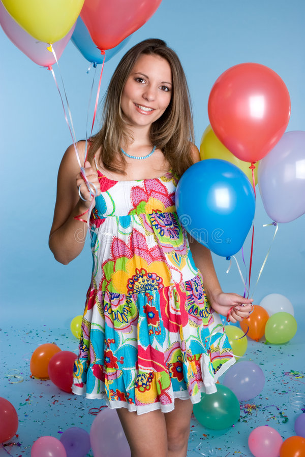 Het Meisje van de Tiener van de ballon royalty-vrije stock afbeeldingen