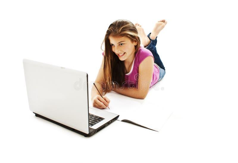 Het meisje van de universiteit het bestuderen royalty-vrije stock afbeeldingen