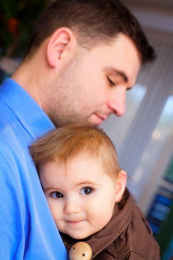 Het meisje van de vader en van de baby stock foto