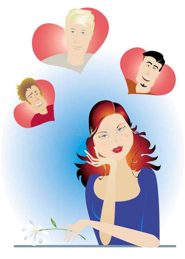 Het meisje van de valentijnskaart stock illustratie