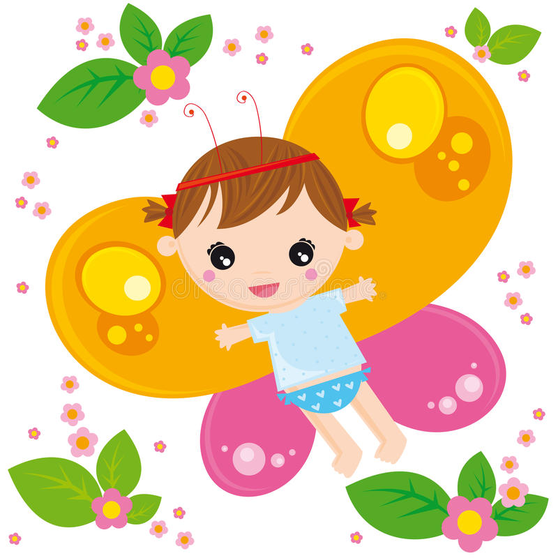 Het meisje van de vlinder stock illustratie