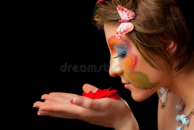 Het meisje van de vlinder royalty-vrije stock fotografie