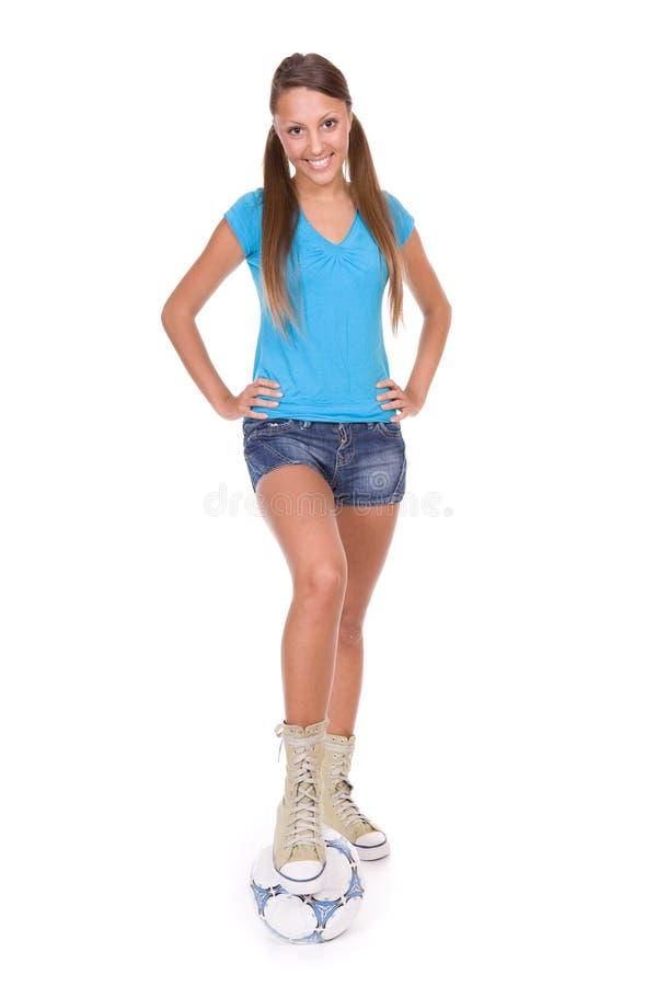 Het meisje van de voetbal royalty-vrije stock afbeelding