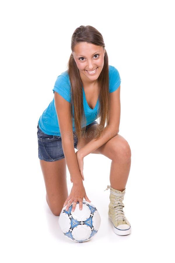 Het meisje van de voetbal royalty-vrije stock foto's