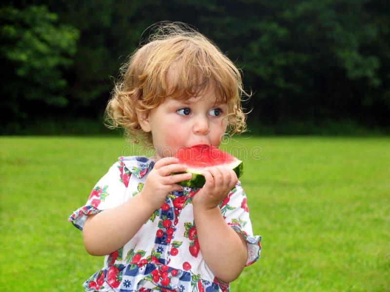 Het Meisje van de watermeloen stock foto's