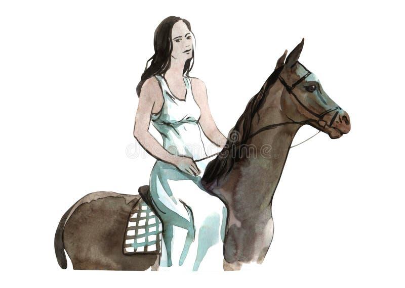 Het meisje van de waterverfillustratie op horseback kleurrijk geïsoleerd voorwerp op witte achtergrond voor reclame vector illustratie