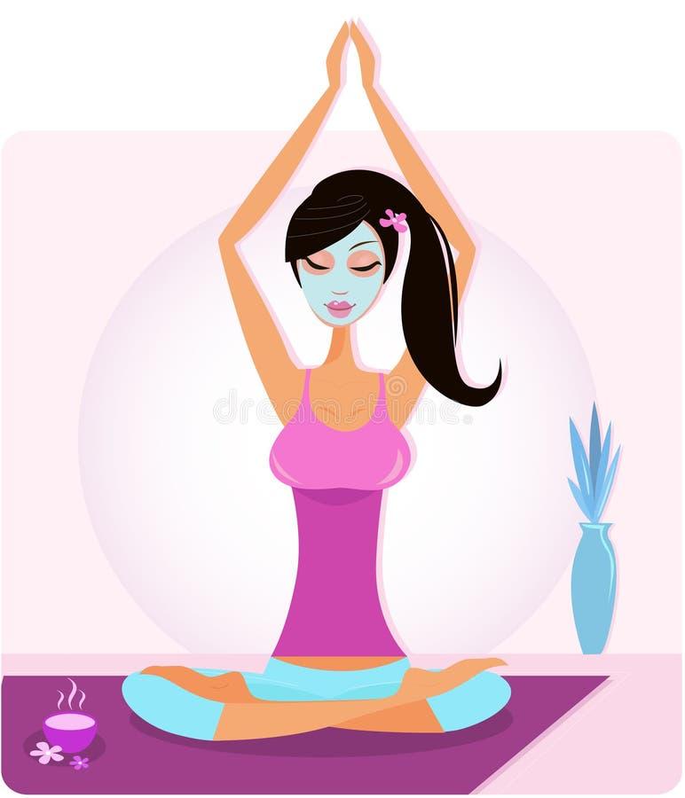 Het meisje van de yoga met gezichtsmasker het praktizeren yogaasana royalty-vrije illustratie