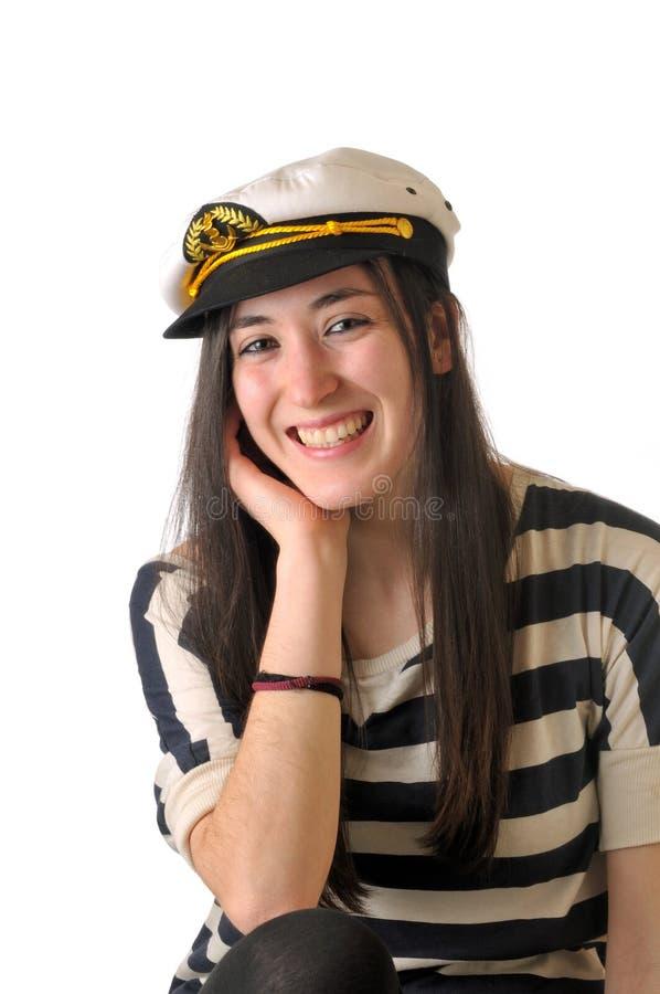 Het meisje van de zeeman het lachen royalty-vrije stock afbeelding
