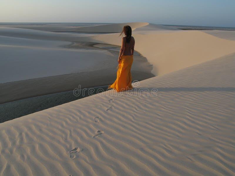 Het meisje van duinen stock afbeeldingen