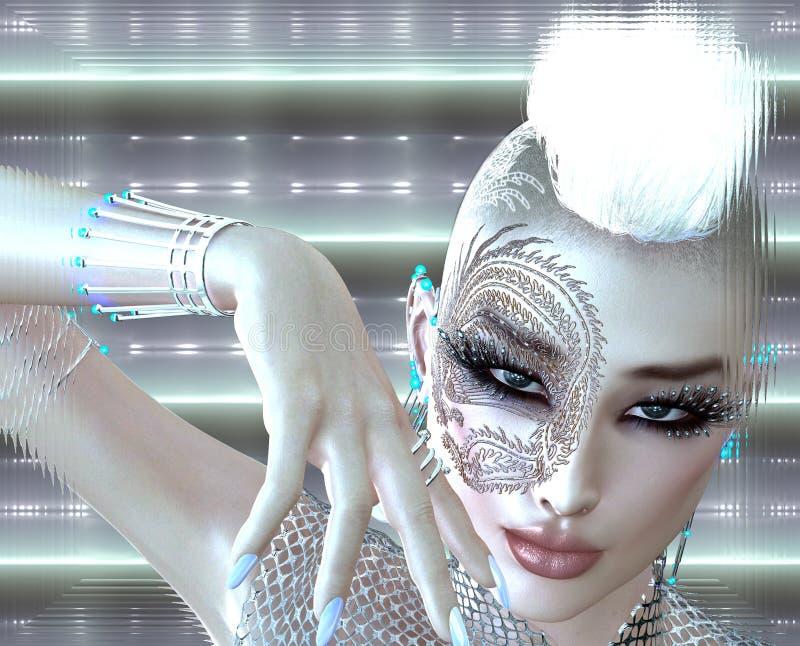 Het meisje van FI van sc.i van de draaktatoegering met futuristische uitrusting, Mohawk-kapsel en gloeiende abstracte achtergrond royalty-vrije illustratie