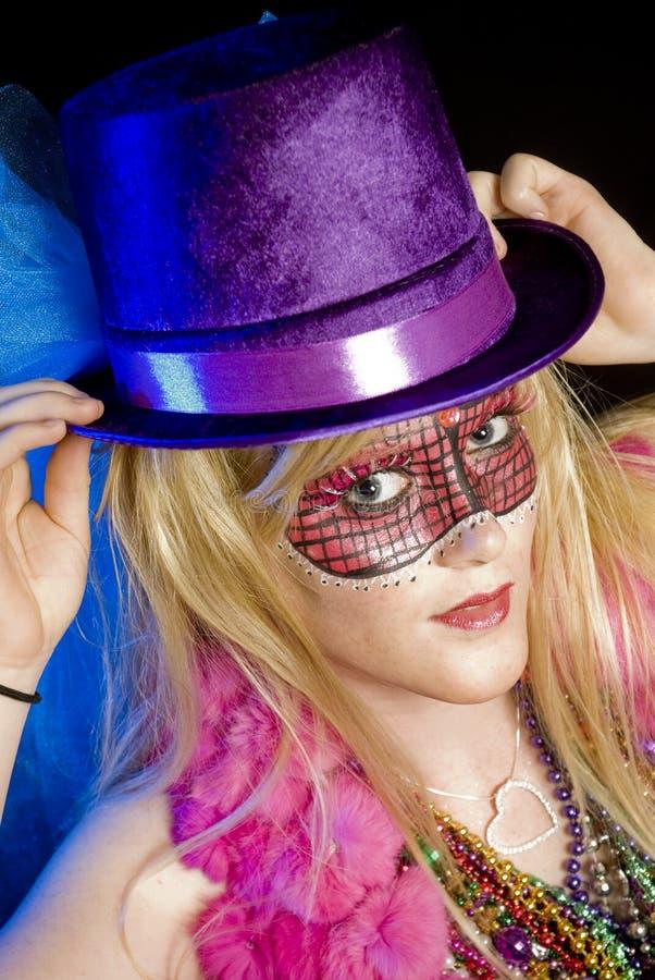Het Meisje van Gras van Mardi royalty-vrije stock fotografie