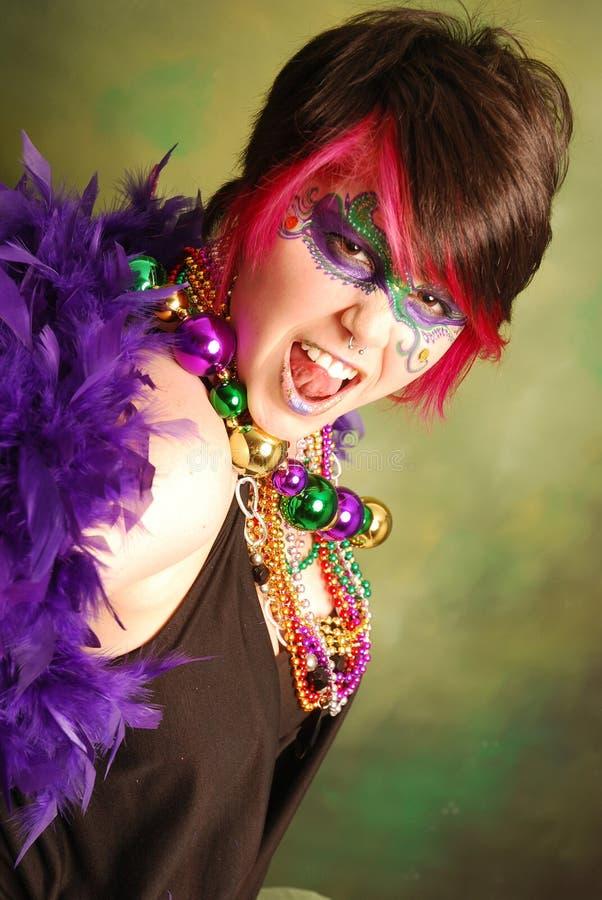 Het Meisje van Gras van Mardi royalty-vrije stock afbeelding