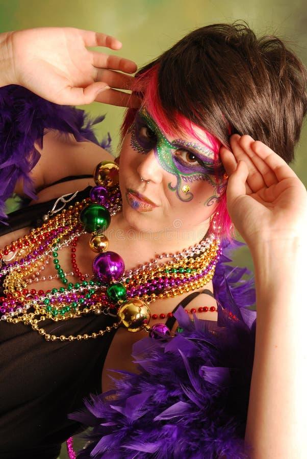 Het Meisje van Gras van Mardi stock foto