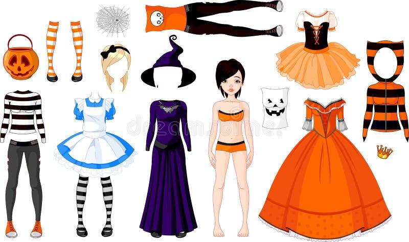 Het Meisje van Halloween met kostuums stock illustratie