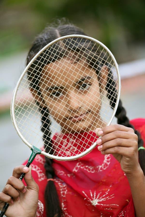 Het meisje van het badminton royalty-vrije stock foto