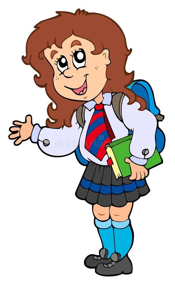 Het meisje van het beeldverhaal in eenvormige school royalty-vrije illustratie