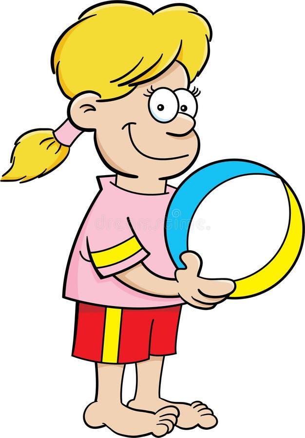 Het meisje van het beeldverhaal met een strandbal vector illustratie