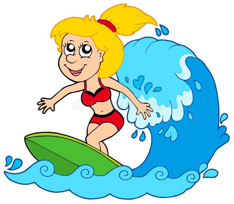 Het meisje van het beeldverhaal surfer stock illustratie