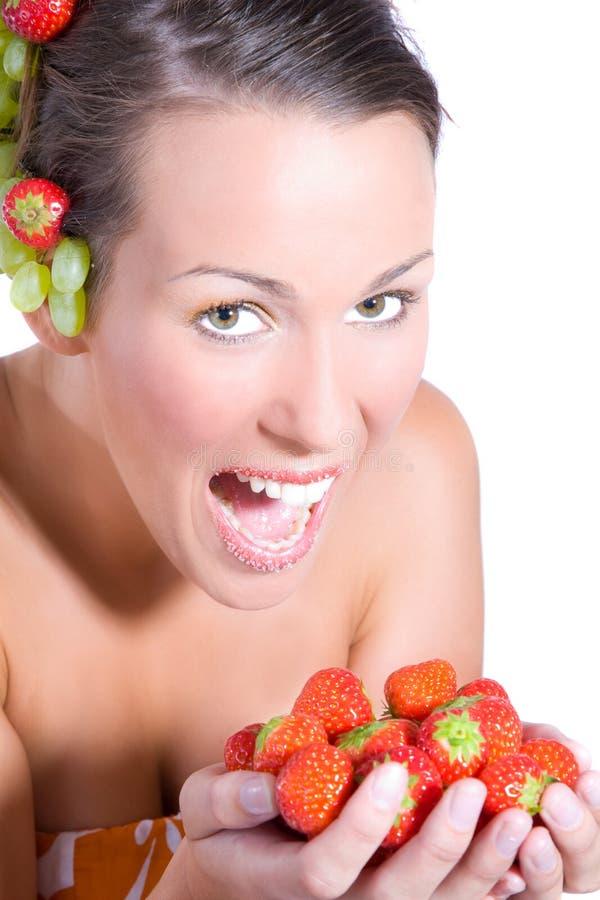 Het meisje van het fruit stock afbeelding