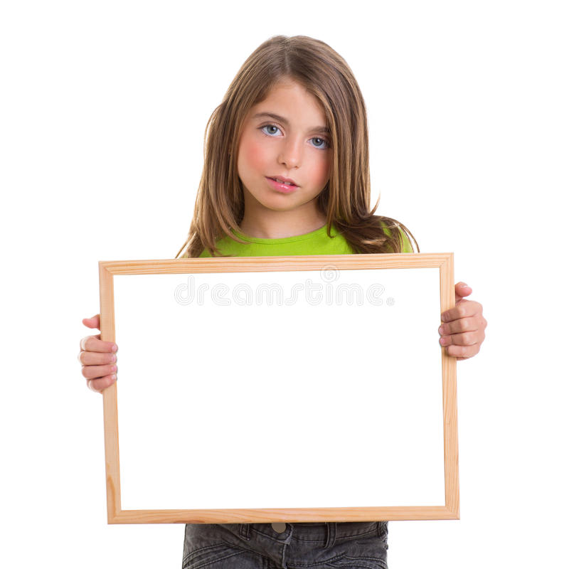 Het meisje van het kind met wit frame exemplaar ruimte wit bord royalty-vrije stock foto