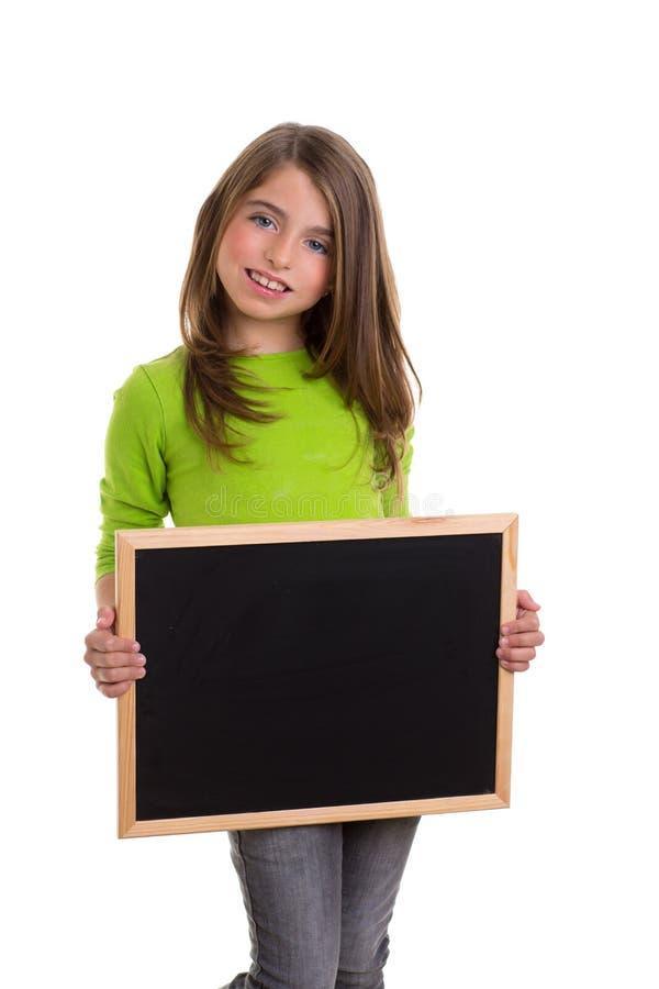 Het meisje van het kind met wit frame exemplaar ruimte zwart bord royalty-vrije stock foto's