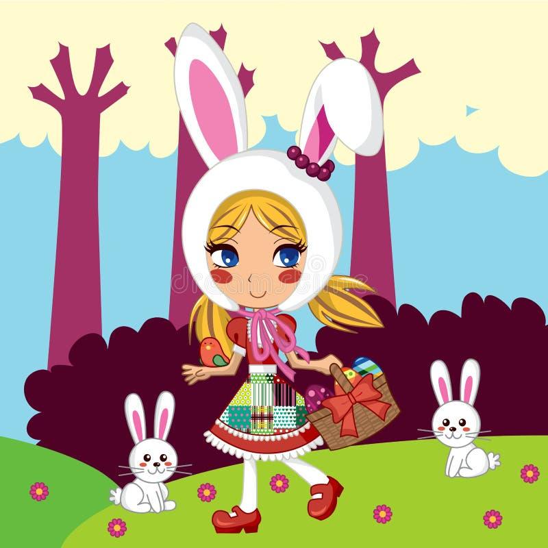 Het Meisje van het konijntje royalty-vrije illustratie