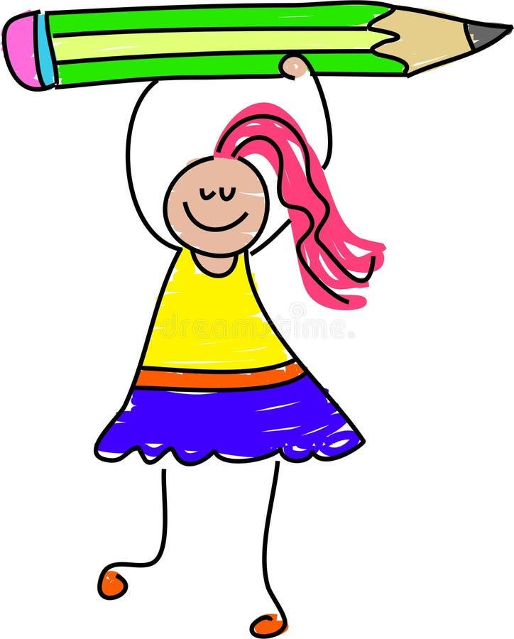 Het meisje van het potlood stock illustratie
