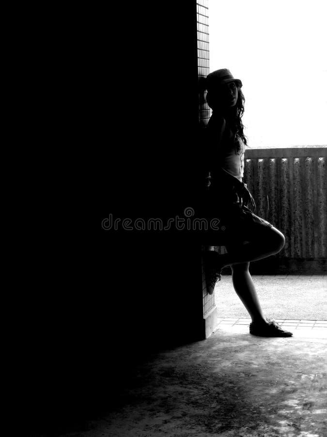 Het meisje van het silhouet stock foto