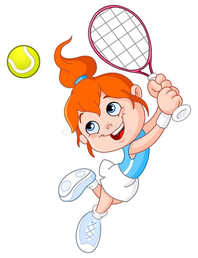 Het meisje van het tennis royalty-vrije illustratie