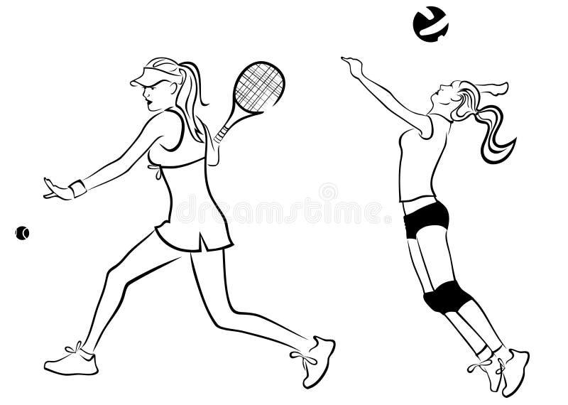 Het meisje van het tennis en van het salvo stock illustratie