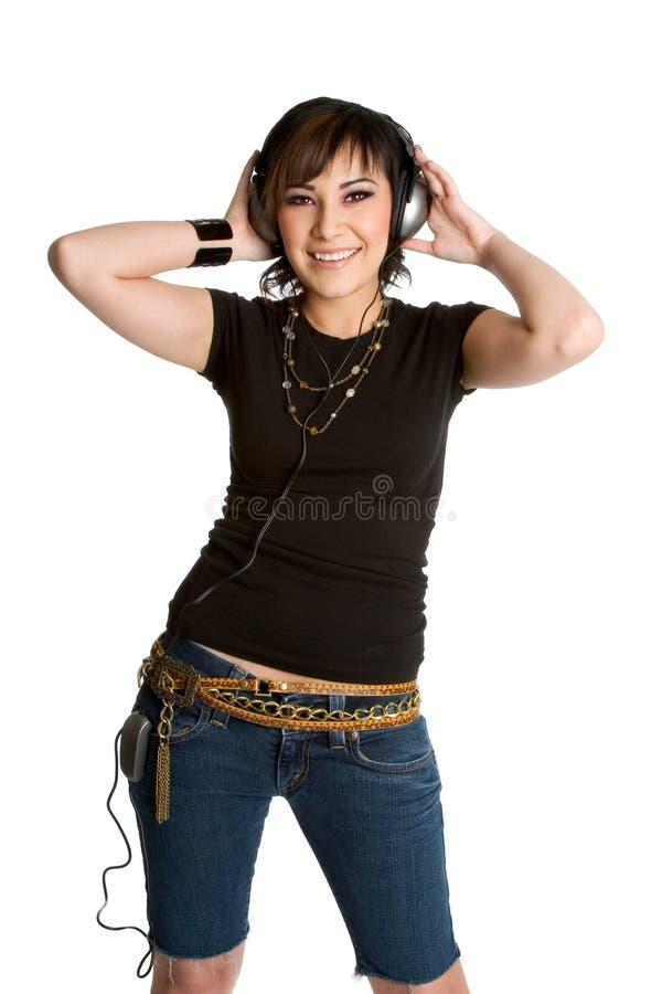 Het Meisje van hoofdtelefoons stock afbeelding