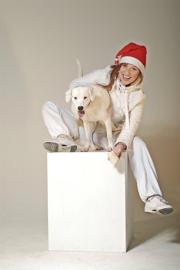 Het meisje van Kerstmis met hond stock foto