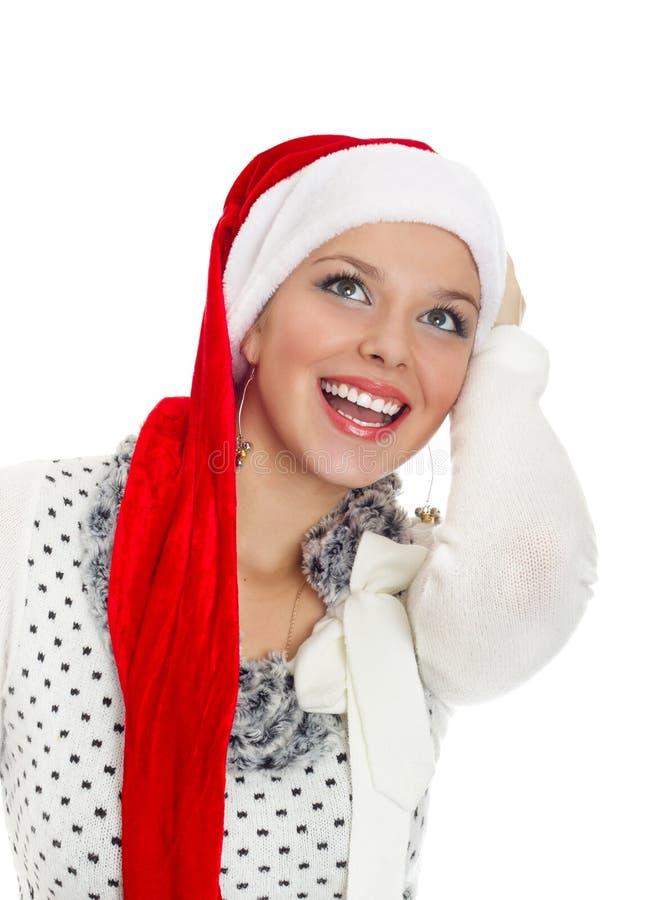 Het meisje van Kerstmis met perfecte glimlach royalty-vrije stock afbeeldingen
